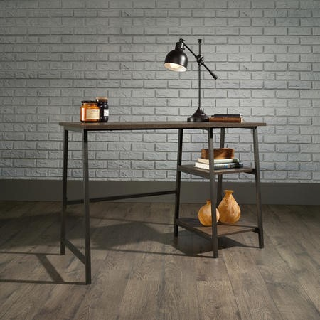 Industrial Desk Black Frame Smoked Oak Effect Top