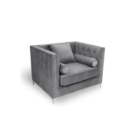 Grey Brushed Velvet Square Edge Diamante Buttons Luxury Armchair