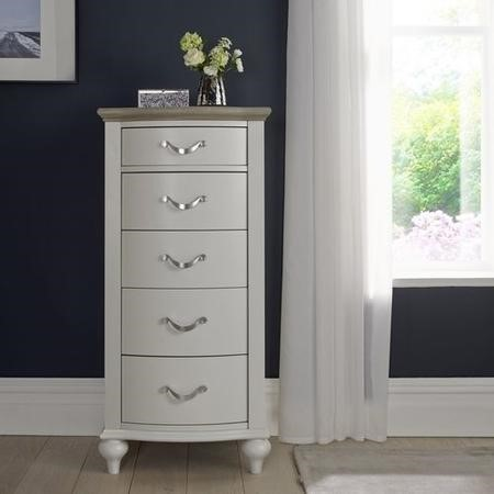 Bentley Designs Montreux Grey and Washed Oak 5 Drawer Tall Chest