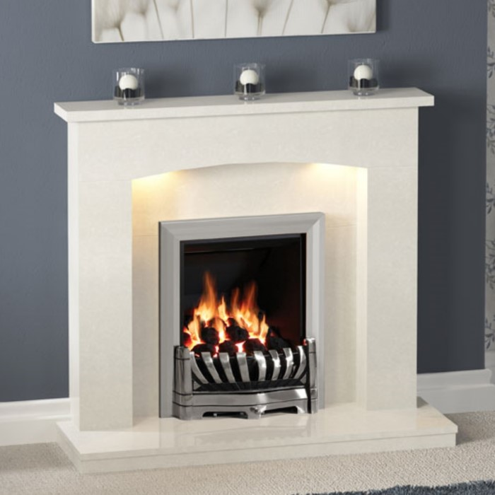 Be Modern Isabelle Cream Marble Fireplace Surround With