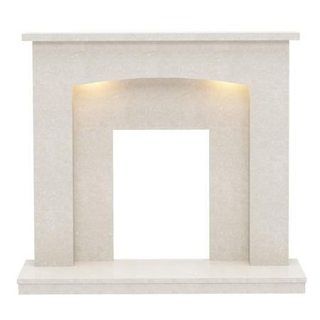 Be Modern Isabelle Cream Marble Fireplace Surround with Lights- 45 inches