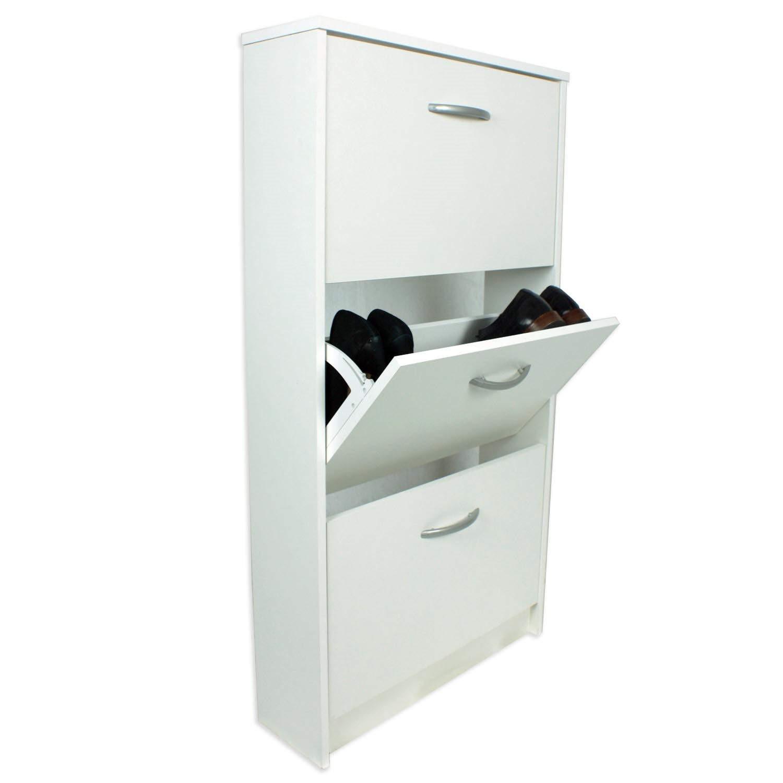 Designer 3 Tier Shoe Cabinet In White 9 Pairs Furniture123