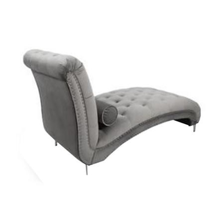 Grey Brushed Velvet Tufted Luxury Chaise