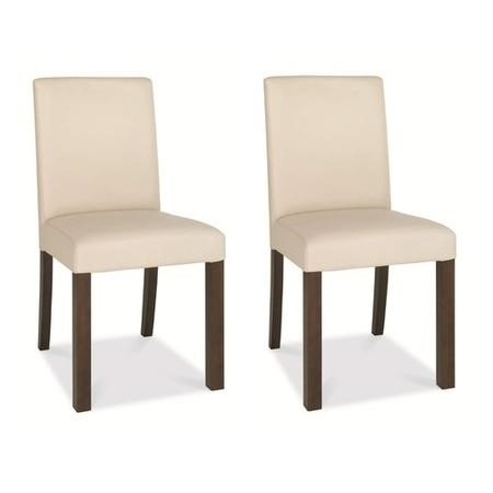 Bentley Designs Akita Square Back Faux Leather pair of Chairs In Ivory