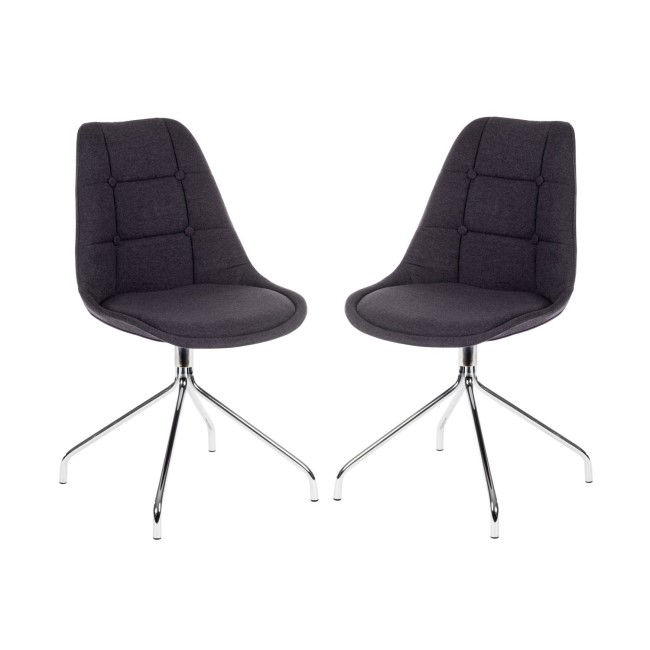 Teknik Office Breakout Graphite Grey Chair with Chrome Legs Set of 2