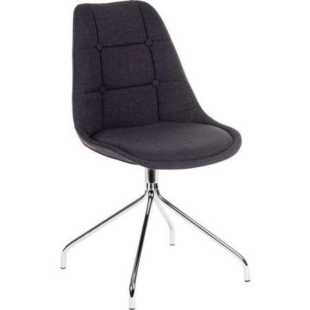 Teknik Office Breakout Graphite Grey Chair Pair with Chrome Legs Set of 2