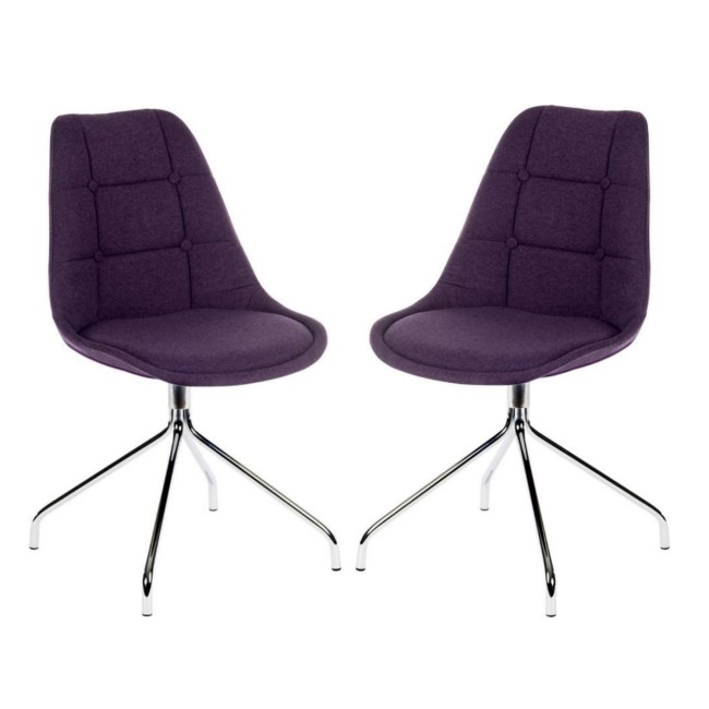 Teknik Office Breakout Plum Chair Pair with Chrome Legs Set of Two