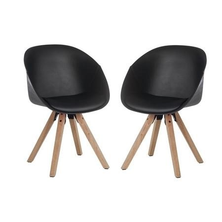 Teknik Office Pyramid Black Tub Chair with Oak Legs Set of Two