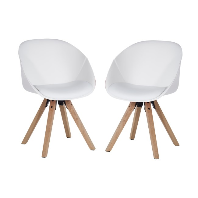 Teknik Office Pyramid WhiteTub Chair with Oak Legs Set of Two