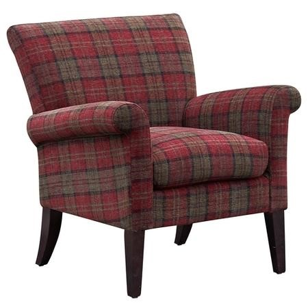 Balmoral Accent Chair in Red Tartan Check Fabric