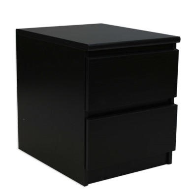 Billi Mia 2 Drawer Bedside Table In Black Woodgrain