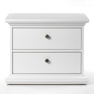 Paris 2 Drawer Bedside Table in White