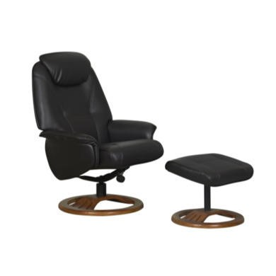Global Furniture Alliance  Oslo Bonded Leather Swivel Recliner & Footstool in Chocolate