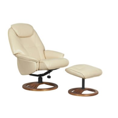 Global Furniture Alliance  Oslo Bonded Leather Swivel Recliner & Footstool in Cream
