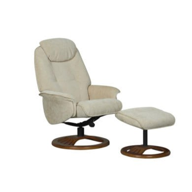 Global Furniture Alliance  Oslo Chenille Fabric Swivel Recliner & Footstool in Beige