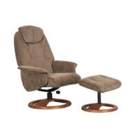 Global Furniture Alliance  Oslo Chenille Fabric Swivel Recliner & Footstool in Mink