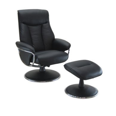 Global Furniture Alliance  Geneva Leather Swivel Recliner & Footstool in Black