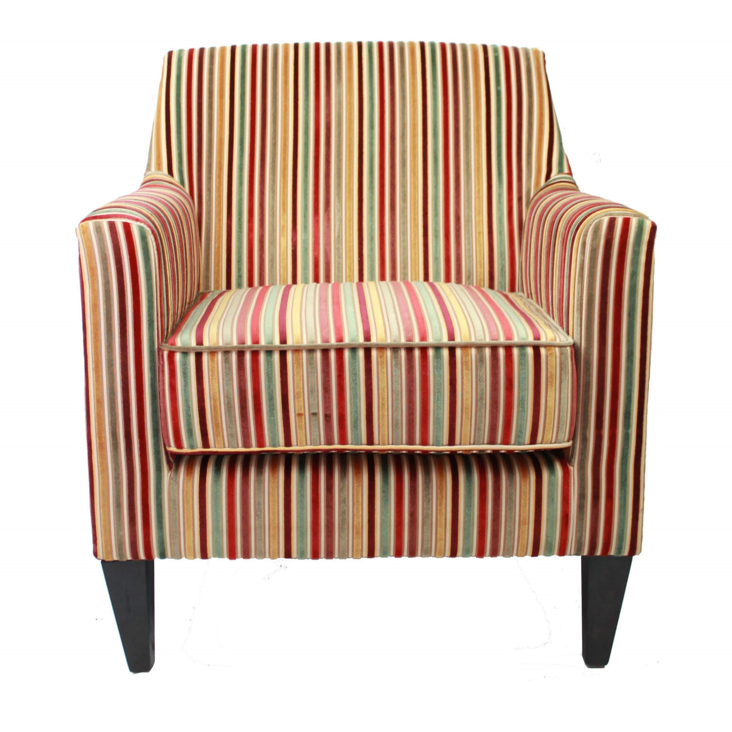 Bloomsbury Fabric Accent Chair In Candy Stripe