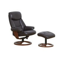 Global Furniture Alliance  York Bonded Leather Swivel Recliner & Footstool in Chocolate
