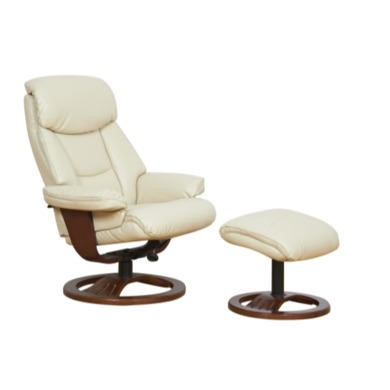 Global Furniture Alliance  York Bonded Leather Swivel Recliner & Footstool in Cream