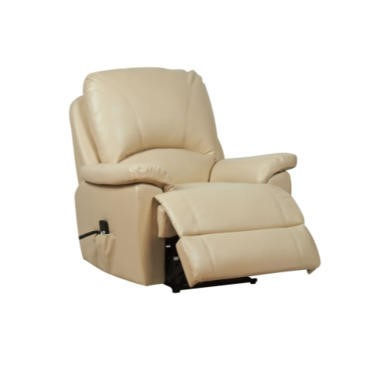 Global Furniture Alliance  Worcester Bonded Leather Fully Upholstered Electric Recliner in Cream
