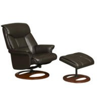 Global Furniture Alliance  Hampton Faux Leather Swivel Recliner & Footstool in Chocolate
