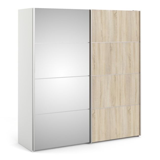 Verona Oak White and Mirror 2 Door Sliding Wardrobe - 180cm