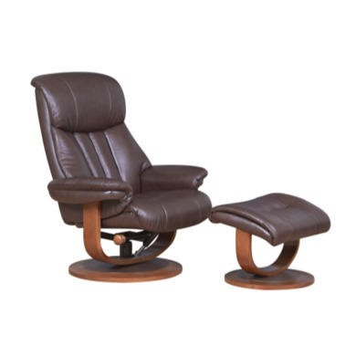 Global Furniture Alliance  Hereford Leather Swivel Recliner & Footstool in Saddle Brown
