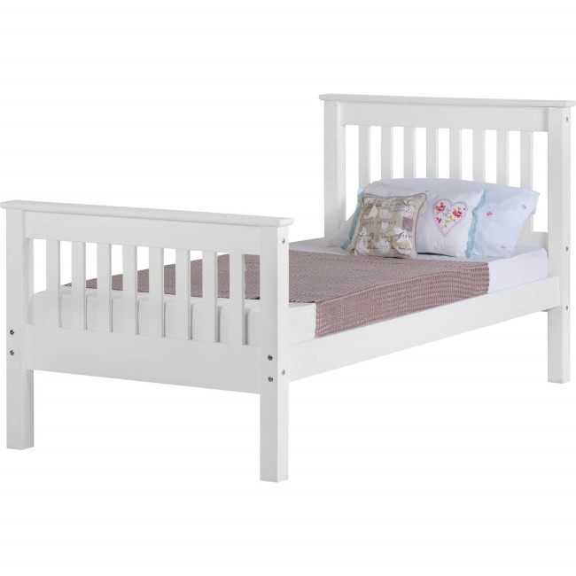 Seconique Monaco Single Bed Frame in White with High Foot End