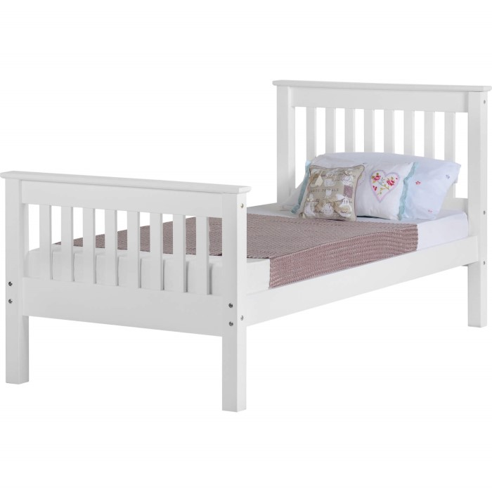 Seconique Monaco Single Bed Frame High Foot End in White | Furniture123