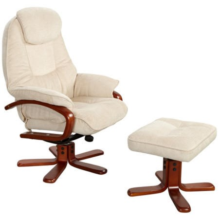 Hong Kong Chenille Fabric Swivel Recliner & Footstool in Beige