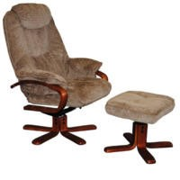 Global Furniture Alliance  Hong Kong Chenille Fabric Swivel Recliner & Footstool in Mink