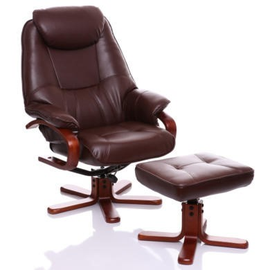 Global Furniture Alliance  Macau Bonded Leather Swivel Recliner & Footstool in Nut Brown