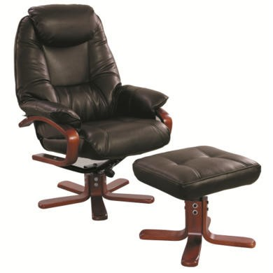 Global Furniture Alliance  Macau Bonded Leather Swivel Recliner & Footstool in Chocolate