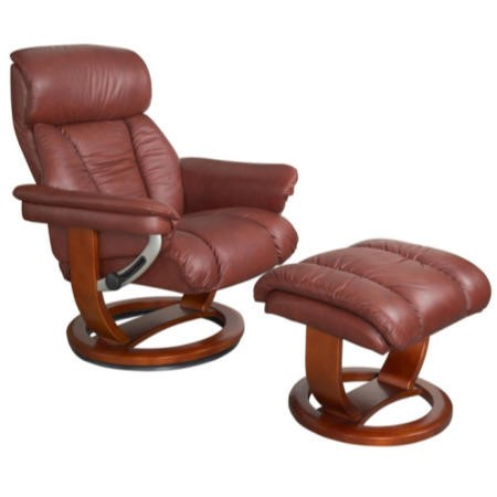Mars leather swivel recliner footstool in chestnut for Furniture 123