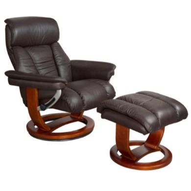 Global Furniture Alliance  Mars Leather Swivel Recliner & Footstool in Chocolate