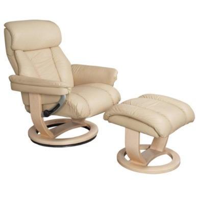 Global Furniture Alliance  Mars Leather Swivel Recliner & Footstool in Cream