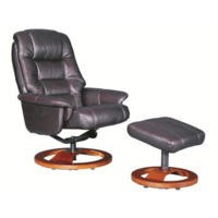 Global Furniture Alliance  Venus Oil-Touch Leather Swivel Recliner & Footstool in Red Wine