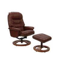 Global Furniture Alliance  Venus Oil-Touch Leather Swivel Recliner & Footstool in Chestnut