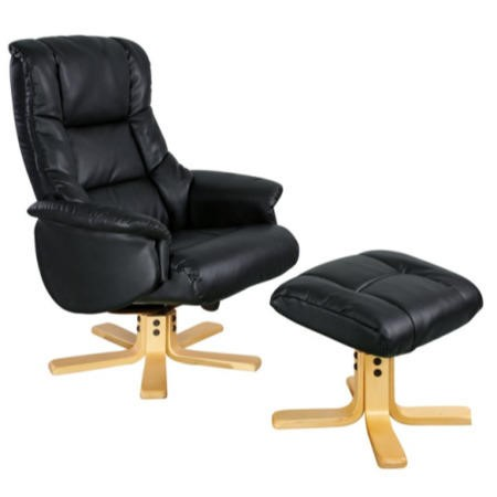 Shanghai Bonded Leather Swivel Recliner & Footstool in Black