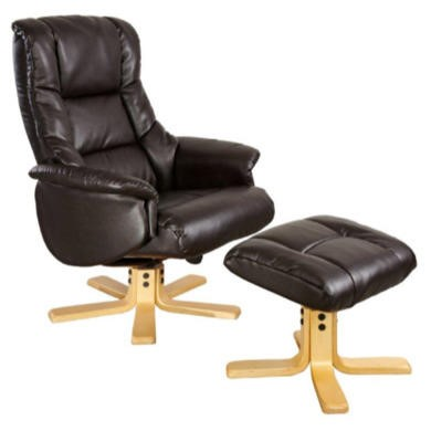 Global Furniture Alliance  Shanghai Bonded Leather Swivel Recliner & Footstool in Chocolate