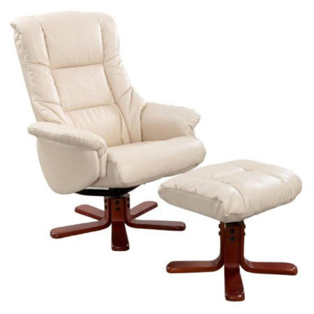 Shanghai Bonded Leather Swivel Recliner & Footstool in Cream