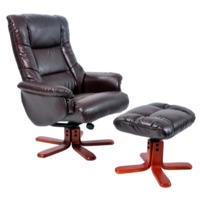 GRADE A1 - Global Furniture Alliance  Shanghai Bonded Leather Swivel Recliner & Footstool in Hazelnut