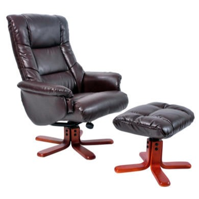 Global Furniture Alliance  Shanghai Bonded Leather Swivel Recliner & Footstool in Hazelnut