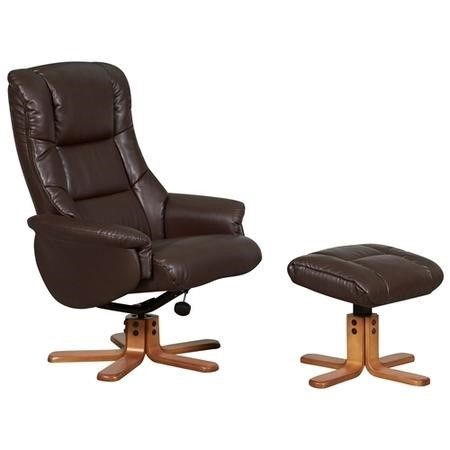 Shanghai Bonded Leather Swivel Recliner & Footstool in Nut Brown