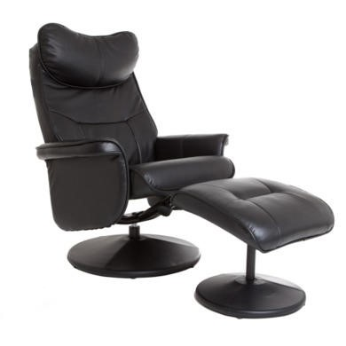 Global Furniture Alliance  Amsterdam Faux Leather Swivel Recliner & Footstool in Black