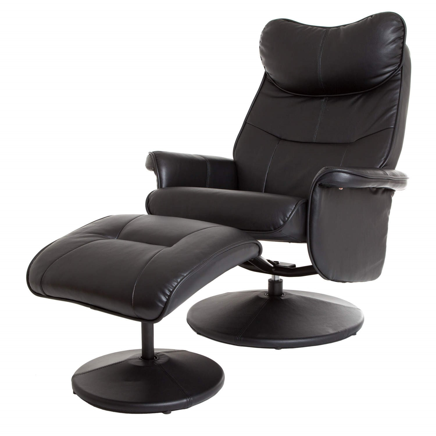 Global Furniture Alliance Amsterdam Faux Leather Swivel Recliner Footstool In Black Furniture123