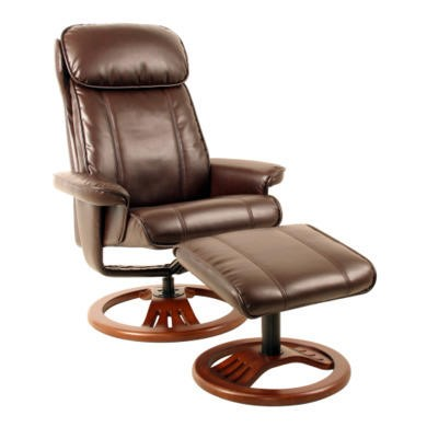 Global Furniture Alliance  Dublin Bonded Leather Swivel Recliner & Footstool in Chocolate