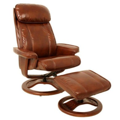 Global Furniture Alliance  Dublin Bonded Leather Swivel Recliner & Footstool in Cognac