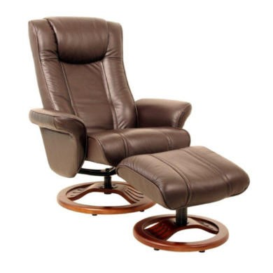 Global Furniture Alliance  London Leather Swivel Recliner & Footstool in Brown